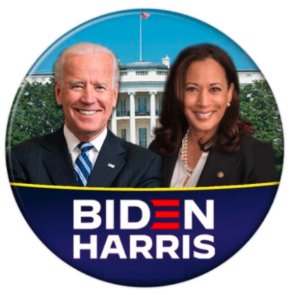 Joe Biden + Kamala Harris with white house